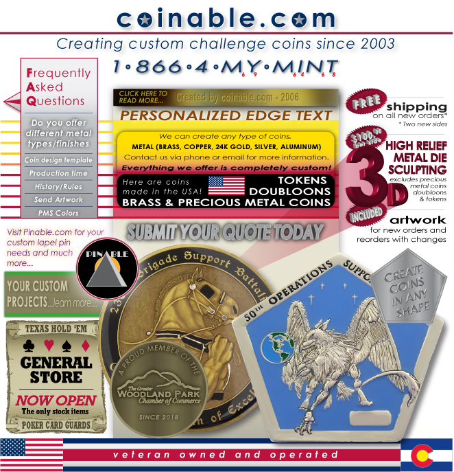 challenge coins, custom coins, personalized coins, custom